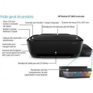 Multifuncional HP Deskjet GT 5822 Tanque de tinta - All in One Colorida WI-FI...