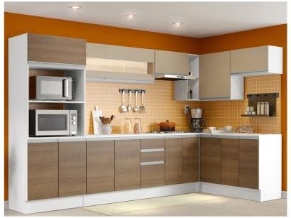 Cozinha Completa Madesa Smart com Balcão - Nicho para Forno 17 Portas 2 Gavetas