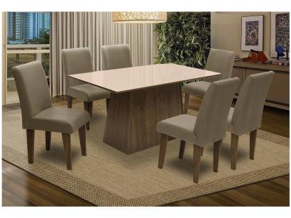 Conjunto de Mesa com 6 Cadeiras Estofadas - Dobuê Movelaria Florença