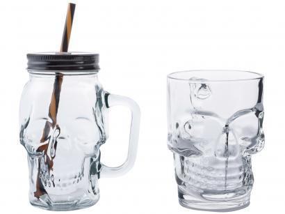 Conjunto de Caneca Vidro para Cerveja 450 e 510ml - 2 Peças Lyor Caveira Rock Style