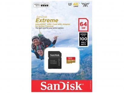 Cartão de Memória 64GB Micro SD SanDisk - Classe 10 Extreme