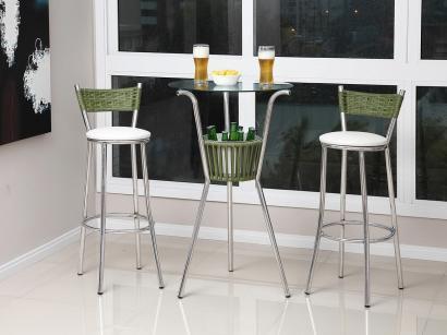 Conjunto de Mesa para Jardim/Área Externa Alumínio - com 2 Banquetas Alegro...