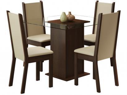 Mesa de Jantar 4 Cadeiras Quadrada - Tampo de Vidro Madesa Aline