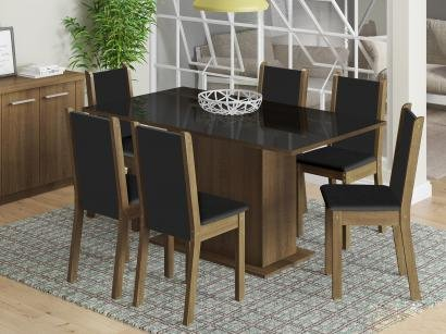 Conjunto de Mesa com 6 Cadeiras Estofadas Madesa - Moscou Plus