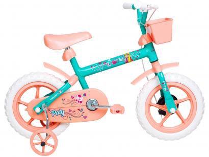 Bicicleta Infantil Aro 12 Verden Paty - Salmão e Verde com Rodinhas com Cesta