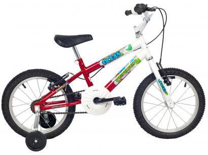 Bicicleta Infantil Aro 16 Verden Ocean - Branca e Vermelha com Rodinha Freio...