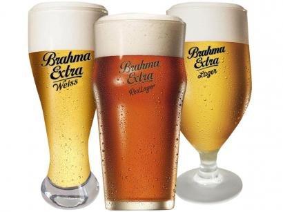 Jogo de Copos de Vidro para Cerveja 3 Peças - Globimport Ambev Brahma Extra
