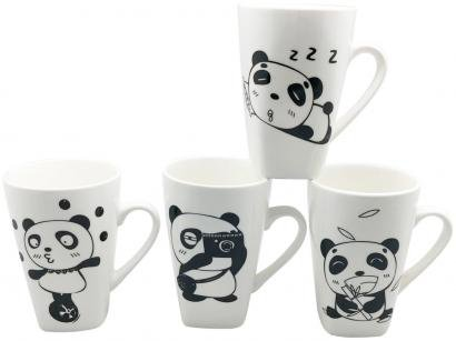 Caneca de Porcelana de Café 400ml Bella Tavola - Panda 4 Peças