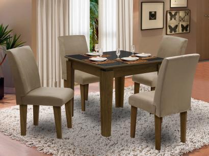 Conjunto de Mesa com 4 Cadeiras Estofadas - Dobuê Movelaria Siena