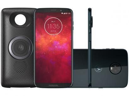Smartphone Motorola Moto Z3 Play Stereo Speaker - 64GB Índigo Dual Chip 4G Câm...