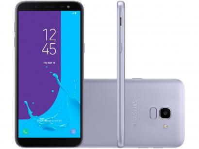 "Smartphone Samsung Galaxy J6 32GB Prata 4G - 2GB RAM Tela 5,6"" Câm. 13MP + Câm...."