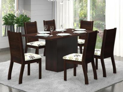Conjunto de Mesa 6 Cadeiras Estofadas Viero Móveis - Sherlock Napoli