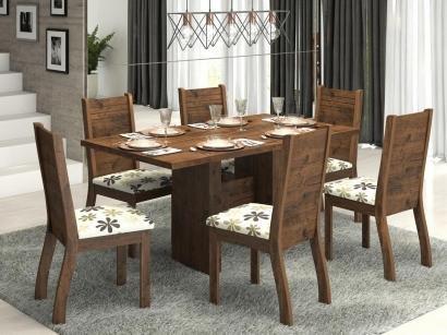 Conjunto de Mesa com 6 Cadeiras Estofadas - Viero Móveis Dark Napoli