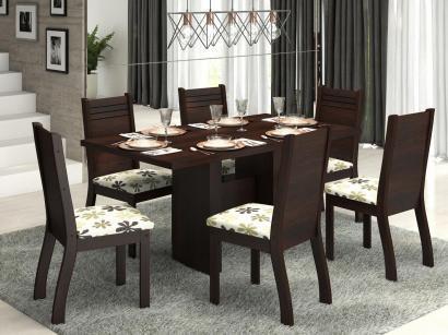 Conjunto de Mesa 6 Cadeiras Estofadas - Viero Móveis Dark
