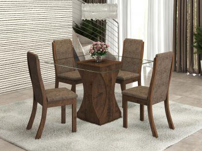 Mesa de Jantar 4 Cadeiras Quadrada Tampo de Vidro - Viero Móveis Viking