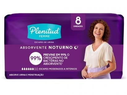 Absorvente Noturno Plenitud Femme sem Abas - 8 Unidades