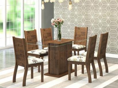 Mesa de Jantar 6 Cadeiras Retangular - Tampo de Vidro Viero Móveis Happy