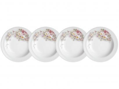 Jogo de Pratos de Porcelana Redondo Branco Fundo - Schmidt 78460231140030 4 peças