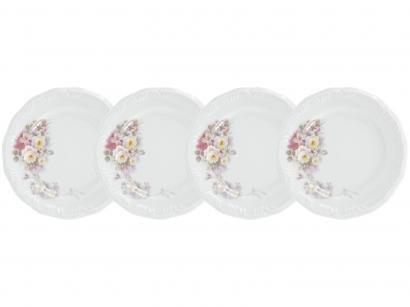 Jogo de Pratos Redondo de Porcelana Branco Raso - de Sobremesa Schmidt 78540191140030 4 Peças