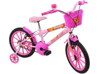 Bicicleta Infantil Aro 16 Polimet Polikids - Magic Girl com Rodinhas com Cesta...