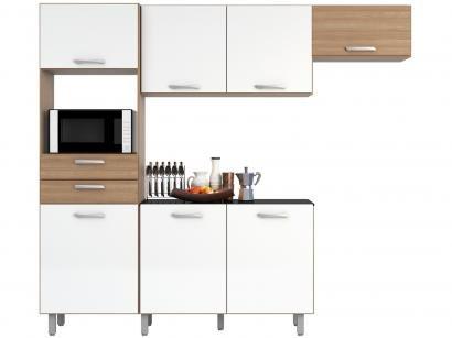 Kit Cozinha Poliman Móveis Lia com Balcão - Nicho para Micro-ondas 7 Portas 2 Gavetas