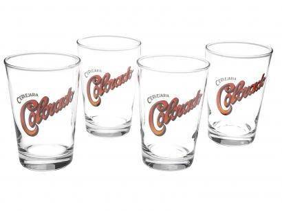 Jogo de Copos de Vidro para Cerveja - Transparente 350ml 4 Peças Ambev Colorado