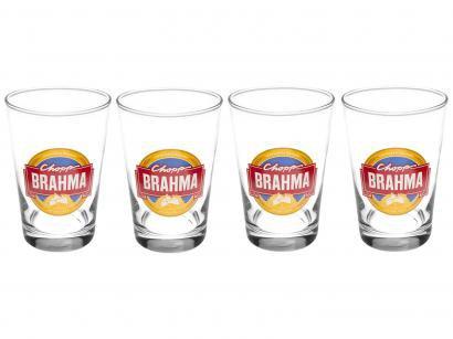 Jogo de Copos de Vidro para Cerveja - Transparente 350ml 4 Peças Ambev Brahma