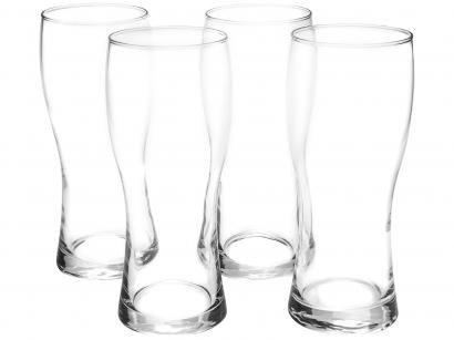 Jogo de Copos de Vidro para Cerveja - Transparente 650ml 4 Peças Vicrila Helles