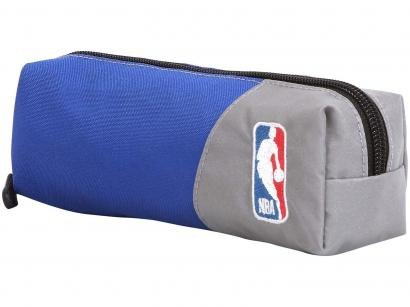 Estojo Escolar Azul e Cinza com Zíper NBA - DMW