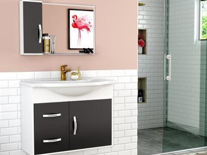 Gabinete para Banheiro Espelheira 1 Porta - 2 Gavetas Cerocha Apus 80