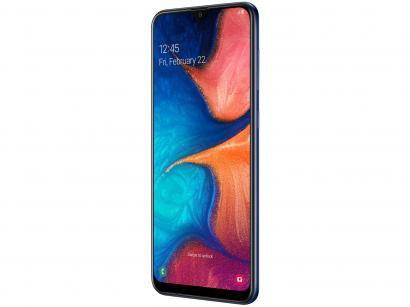 """Smartphone Samsung Galaxy A20 32GB Azul 4G - 3GB RAM Tela 6,4"""" Câm. Dupla +..."""