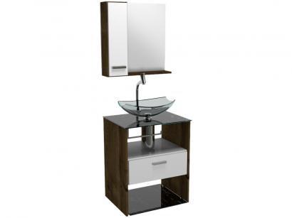 Gabinete para Banheiro de Vidro com Cuba e Espelho - 1 Gaveta VB Cristais VB5045VDPR