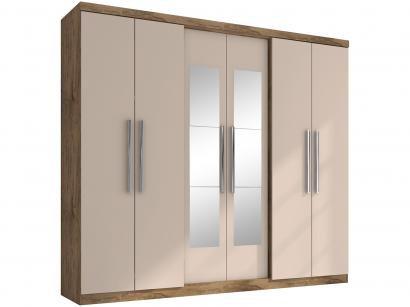 Guarda-roupa Casal com Espelho 6 Portas - 4 Gavetas Araplac Bello