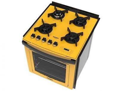 Fogão 4 Bocas de Embutir Dako Amarelo com Grill - Dakolors DE4VTP-AC0 4Q
