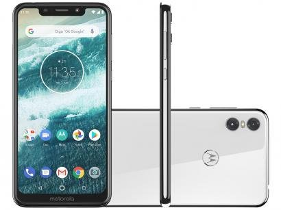 "Smartphone Motorola One 64GB Branco 4G Qualcomm - 4GB RAM Tela 5,9"" Câm. Dupla..."