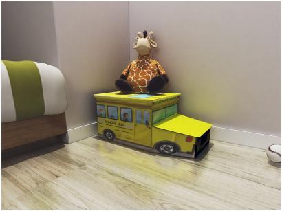 Caixa de Brinquedos Mini ônibus Decore - OT00073 Multivisão Amarela