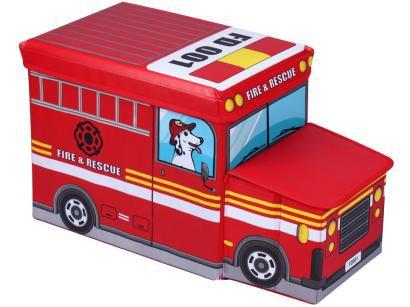 Caixa de Brinquedos Mini ônibus Decore - OT00285 Multivisão Vermelha