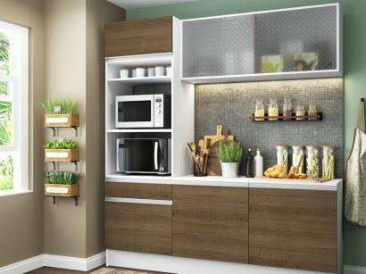Cozinha Compacta Madesa Ametista G20086095Z - com Balcão Nicho para Micro-ondas...