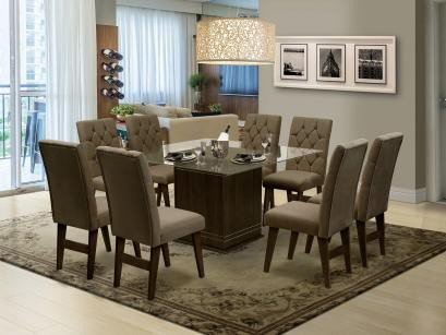 Mesa de Jantar com 8 Cadeiras Quadrado - com Tampo de Vidro Dobuê Movelaria...