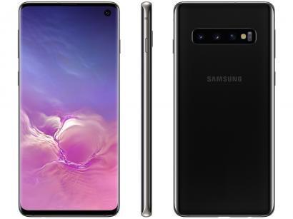 "Smartphone Samsung Galaxy S10 128GB Preto 4G - 8GB RAM 6,1"" Câm. Tripla + Câm...."