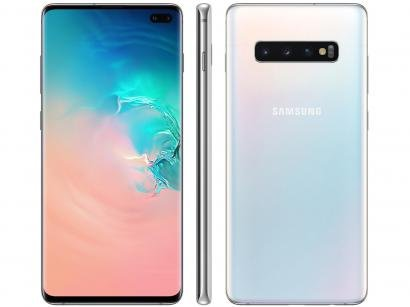 "Smartphone Samsung Galaxy S10+ 128GB Branco 4G - 8GB RAM Tela 6,4"" Câm. Tripla..."