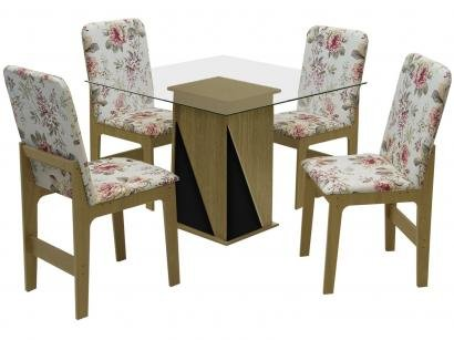 Mesa de Jantar 4 Cadeiras Quadrada - com Tampo de Vidro Dobuê Movelaria Itália