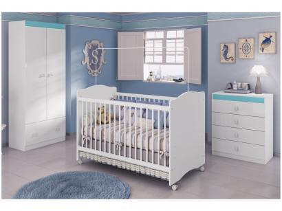 Quarto de Bebê Completo com Berço Guarda-Roupa - Cômoda Móveis Estrela Satriani