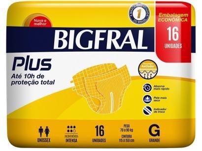 Fralda Geriátrica Bigfral Plus Normal - Tamanho G 16 Unidades