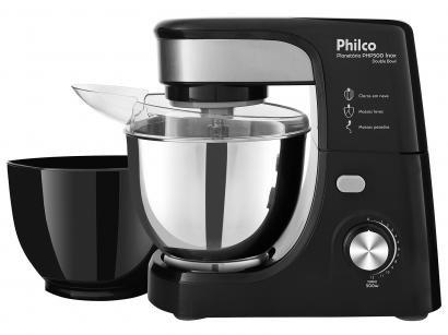 Batedeira Planetária Philco Preto e Prata 500W - Turbo Inox Double Bowl PHP500B...