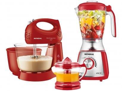 Kit Premium Inox Gourmet Red IV Mondial - com Liquidificador Batedeira...