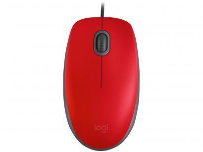 Mouse Logitech Óptico 1000DPI 3 Botões M110 - Vermelho