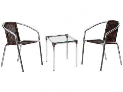 Conjunto de Mesa para Área Externa Alumínio - 2 Cadeiras Alegro Móveis Angélica