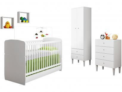 Quarto de Bebê Completo com Berço Guarda-Roupa - e Cômoda Art In Móveis Meu...