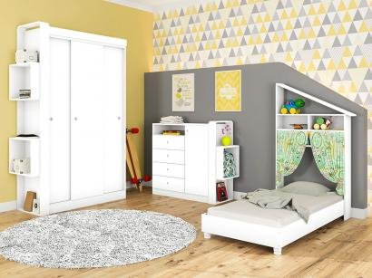 Quarto Infantil Completo com Mini Cama - Guarda-roupa Cômoda Art In Móveis Doce...